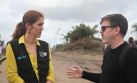 Diana Respreto, coordenadora humanitária do UNFPA e o representante do Irish Aid, Cathal Reidy