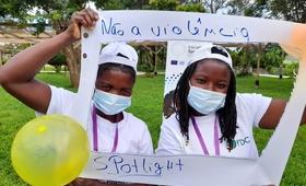 Evelina e Roda, mentoras recém-formadas da Cidade de Chimoio, Moçambique